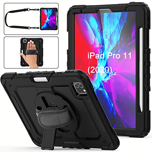 iPad Pro 11 Case 2020 with Screen Protector Pencil Holder | Herize iPad 11 Pro Heavy Duty Shockproof Durable Rugged Protective Case with Stand Handle Strap Supports Pencil 2 Wireless Charging | Black