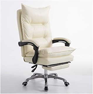 PPWAN Office Chair - High Back Leather Office Chair with Pedals and Thick Pad - Reclining Computer Chair with Textured Leather and Ergonomics, White