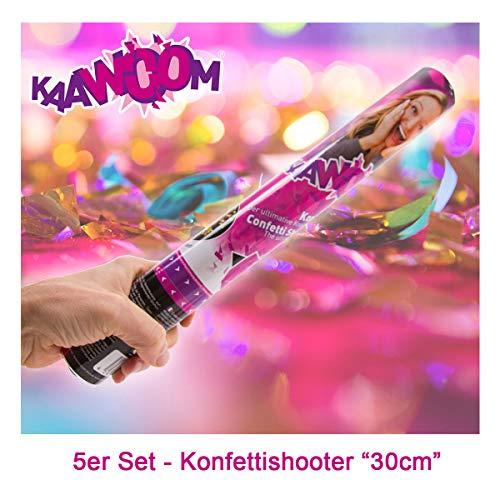 5er Set Konfettikanone / Konfettishooter / Party Shooter / Party Popper - 30 cm (Metallic-Konfetti) für Party, Hochzeit, Geburtstag, Junggesellenabschied und Karneval