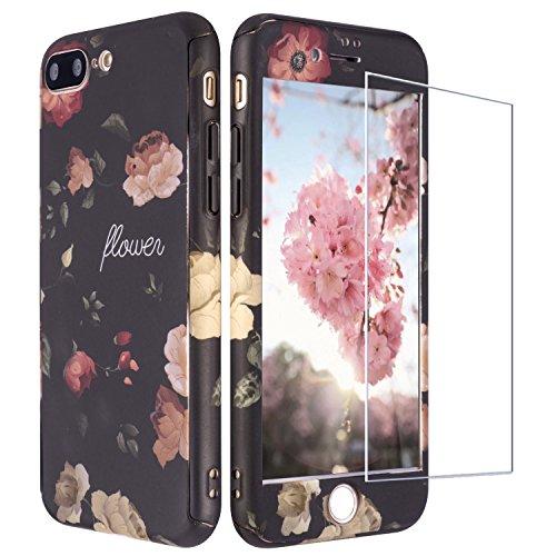ZXK CO Custodia iPhone 7 Plus,Cover iPhone 8 Plus, 360 Gradi Full Body 3 in 1 Ibrido Protettiva PC Duro Plastica Custodia per Floral Design Antiurto Paraurti CAS