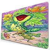 Nettes Mauspad ,Im lila Gras singt der Frosch und spielt die Geige,Rechteckiges rutschfestes Gummi-Mauspad für den Desktop, Gamer-Schreibtischmatte, 15,8 'x 29,5'