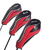 Andux - Coprimazze da golf, per legni driver da 460 cc, con chiusura a cerniera, set da 3, MT/MG17 Black/Pink
