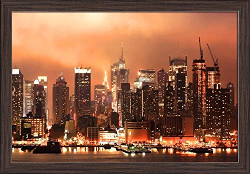 New York City - HDR Image of the Midtown Manhattan Skyline at Night A-9013209 (24x15 Giclee Art Print, Gallery Framed, Espresso Wood)
