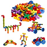 Dinhon Children's 72 Pieces of Pipe Assembly Toys Multicolor Pipe Building Blocks Educational STEM Structure Learning Toys with Wheels Suitable for Children of All Ages, Boys and Girls Gifts