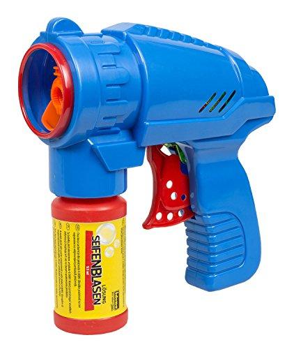 Idena 40089 - Seifenblasenpistole mit Seifenblasenlösung 53 ml, keine Batterien nötig, ideal für den Sommer, im Garten und auf Partys
