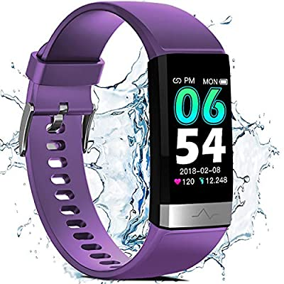 Fitness Activity Tracker for Men Women, Heart Rate Monitor Blood Oxygen Sleep Tracking Step Calorie Counter, IP68 Waterproof 1.14'' HD Screen, Compatible with iPhone Android Smart Phones (Purple)