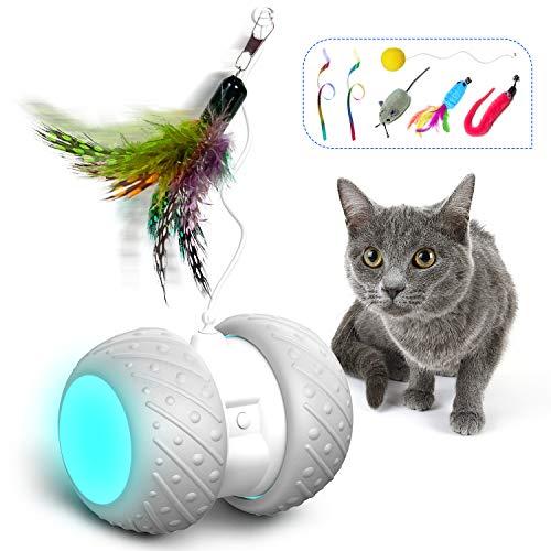 HOFIT Interaktives Elektrischer Katzenspielzeug,Automatischer Drehender Katzenball mit LED-Lichtspielzeug,Katzen Roller Ball Intelligenzspielzeug Für Kätzchen und Hund (A)