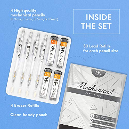 MozArt Supplies Mechanical Pencil Set with Case - 4 Sizes: 0.3, 0.5, 0.7 & 0.9 mm, 30 HB Lead refills each & 4 Eraser Refills - Drafting, Sketching, Illustrations, Architecture (plastic 2) Photo #7