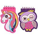 Taccuino a Spirale CHEPL 2 Pezzi Cartoon Pattern Taccuino Portatile Mini Taccuino Notebook Taccuino Tascabile Con Motivo a Simpatico Gufi e Unicorni, Diario per Taccuino per Ufficio