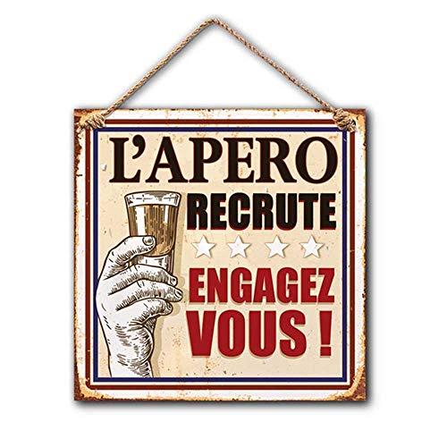 Plaque Deco Metal 20x20 Cm L'Apero recrute Engagez vous