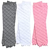 3 Pairs of girls juDanzy baby Leg Warmers for newborn, infant, toddler, child (Newborn (up to 15 pounds), Pink, Gray, White)