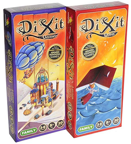 Dixit Odyssey & Dixit Quest Expansions, Two add-on expansions for Dixit Game, Bundled Items (2)