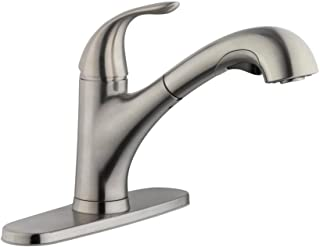 Single-Handle Fast Mount High Arc Pull-Out Turbo Sprayer Kitchen Faucet in Stainless Steel