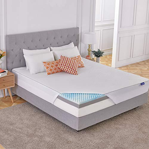 Sweetnight 4 Inch King Size Mattress Topper with Waterproof Mattress Protector, Memory Foam Topper Infused Gel & Bamboo Charcoal, Cooling & Supportive, Plus 4 Bed Sheet Holder Straps, Medium Firm