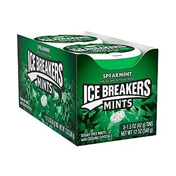 ICE BREAKERS Spearmint Sugar Free Mint Candy Halloween 1.5 oz Tin  8 ct