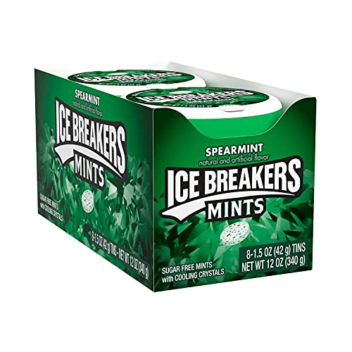 ICE BREAKERS Spearmint Sugar Free Mint Candy, Bulk, 1.5 oz Tin (8 ct)