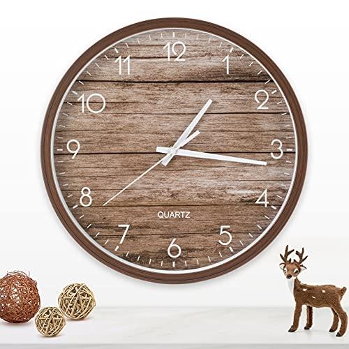 Wanduhr Vintage Holzmuster Wanduhren, Nicht tickende Quarzuhren aus stillem Quarz, Uhr für deko Wohnzimmer wanddeko Haus küchenuhr Büro Schule, runde Uhr mit großer Anzahl Leicht zu lessen