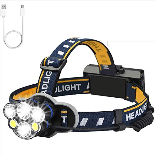 Lampe Frontale, Lampe Frontale USB Rechargeable avec 6 LED, réglable, étanche pour Courir, Faire du vélo, pêcher, Promener Son Chien,