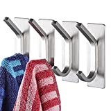 YIGII Towel Hook/Adhesive Hooks - Wall Hooks for Coat/Robe/Towels Stick on Bathroom/Kitchen 4-Pack, Stainless Steel