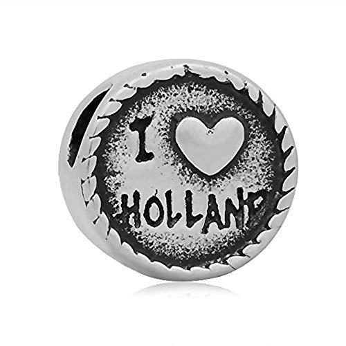 Andante-Stones zilveren kraal Charm Love Holland met molen - element bal voor European Beads + organza zakje
