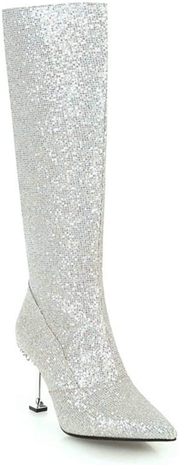 T-JULY Women Sequins PU Thin High Heels Crystal Pointed Toe shoes Autumn Spring Zip Large Size Knee-high Boots