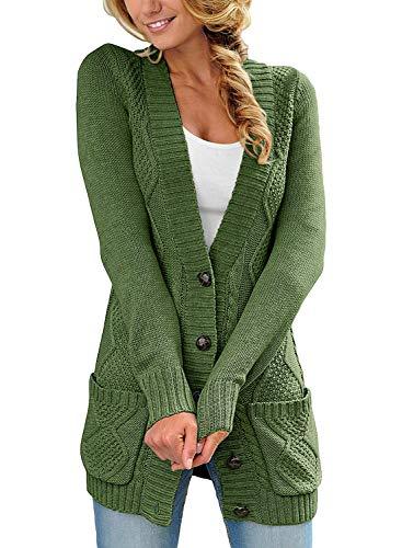 Roskiky Damen Strickjacke mit Knopfleiste vorne, langärmelig und Zopfmuster Grün Größe M