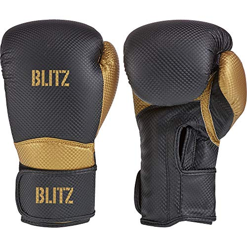 Blitz Centurion Boxhandschuhe, schwarz/goldfarben, 396,9 g (14 oz)