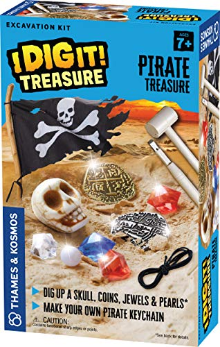 Thames & Kosmos I Dig It! Treasure - Pirate Treasure Excavation Kit | Explore Archaeology | Dig Treasure Out of a Plaster Block! | Unique Composition for a Fun, Dust-Free Educational Activity