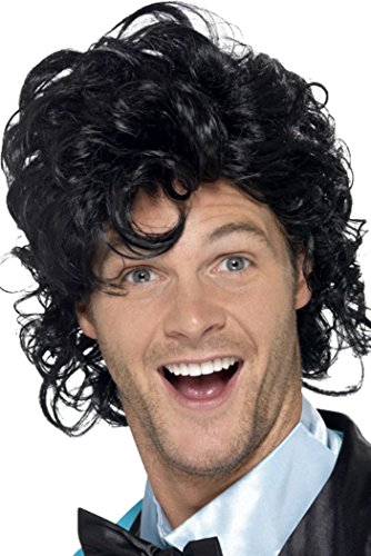 Heren Fancy Dress Rock Retro Afro Mullet Roll Curly 80's Prom King Perm Pruik Zwart