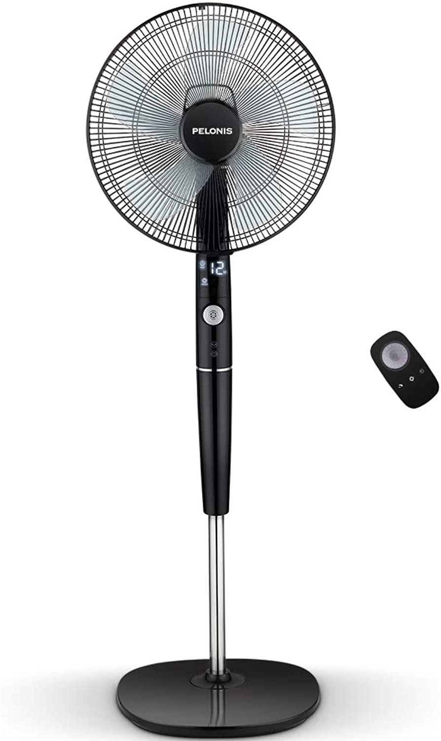 PELONIS Fan, Quiet DC Motor Oscillating Standing Pedestal Fan with Powerful 26 Speed, 5 Silent Modes, 12h On Off Timer, Adjustable Height and Tilt, Remote Control, 16-Inch, Black