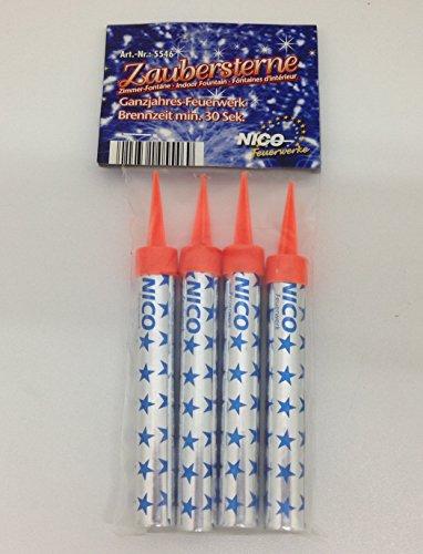 1 Pack. NICO-Zaubersterne (Zimmerfontäne) Inhalt 4 Stück, rauchlos mit Silbereffekt