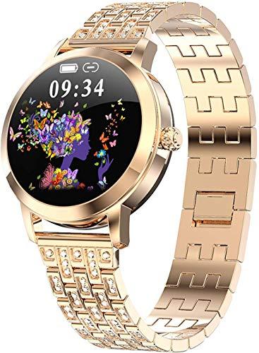 Reloj inteligente para mujer con seguimiento de actividad y actividad física, resistente al agua, monitor de presión arterial, podómetro, contador de pasos, Bluetooth-dorado
