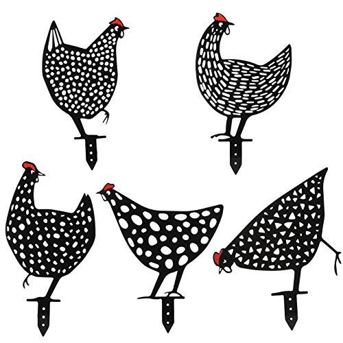 KUANGCI 5 Pcs Metal Chicken Yard Art, Chicken Silhouette Stake for Yards, Gardens, Garden Decor - Outdoor Shadow Decoration