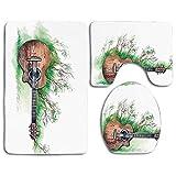 Set de alfombras de baño de seguridad Decoración de música Ramas de guitarra de madera Clásico Prado Verano Césped Paisaje Alfombra de baño + Alfombra de contorno + Cubierta de asiento de inodoro, Alf