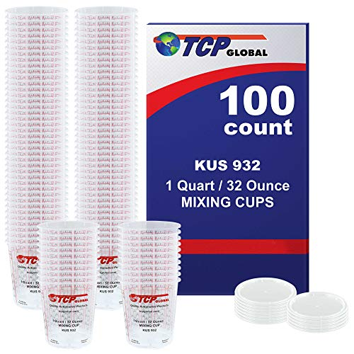 (Full Case of 100 each - Quart (32oz) PAINT MIXING CUPS) by Custom Shop - Cups are Calibrated with Multiple Mixing Ratios (1-1) (2-1) (3-1) (4-1) (8-1) BOX of 100 Cups includes 12 bonus Lids Epoxy Resin