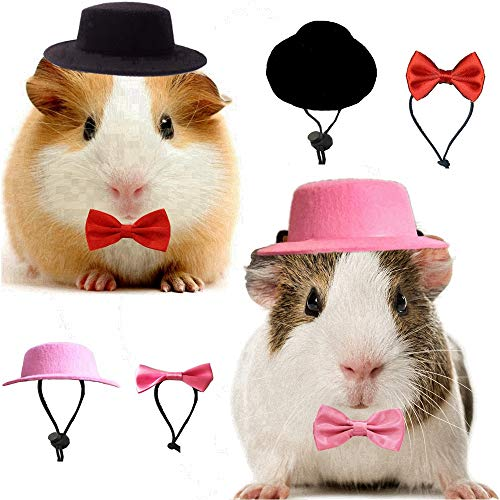 2 Pack Small Animal Hat and Bowtie Valentine's Day Costume Outfit for Guinea Pig Ferret Rabbit Bunny Chinchilla Kitten Puppy Hamster Hedgehog Reptile Lizard Bearded Dragon 4Pcs in One Set (2 Pack)