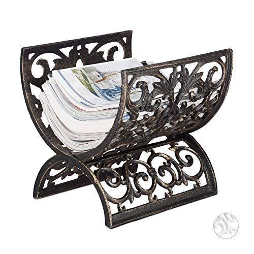 Relaxdays Zeitungsständer Antik, Gusseisen, Holzablage, HBT: ca. 29,5 x 29,5 x 26,5 cm, bronze