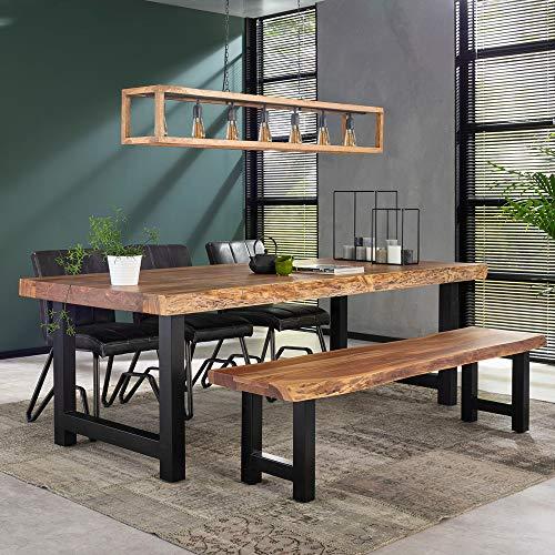 Esstisch Baumstamm 240 x 100 cm Baumkante Akazie Massivholz Dinnertisch Esszimmertisch