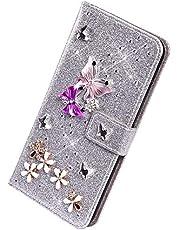 Herbests Funda Compatible con Samsung Galaxy S8 - Funda de Piel Sintética con Tapa Glitter Bling Diamantes de Imitación Mariposa Carcasa para Teléfono Móvil de Cuero PU,Plata