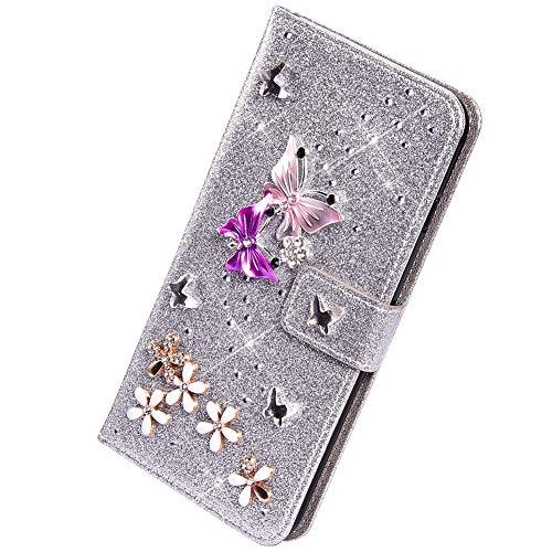 Herbests Funda Compatible con Huawei P10 Lite - Funda de Piel Sintética con Tapa Glitter Bling Diamantes de Imitación Mariposa Carcasa para Teléfono Móvil de Cuero PU,Plata