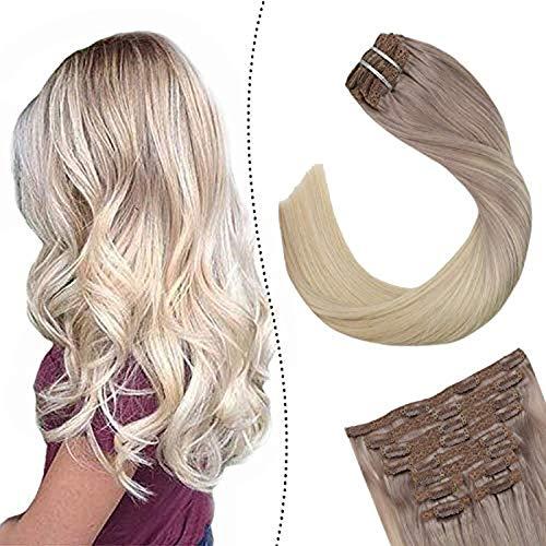 Ugeat Full Head Clip in Extensions Aschblond zu Platinblond #T18/60 Ombre Secret Tressen mit Clips 18zoll Easy Fit fur Komplette Haarverlangerung 100Gramm 7Stuck