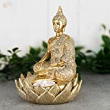 The Juliana Collection Figura decorativa de buda asentada tailandesa con efecto dorado...