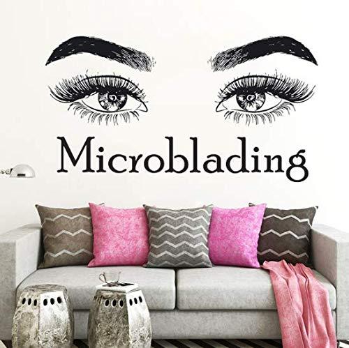 (Personnalisation Du Support) Cils Cils Maquillage Citation Microblading Sticker Autocollant Beauté Salon Décoration Murale Cosmétiques Mascara Vinyle Sticks Sourire 78 * 42 Cm