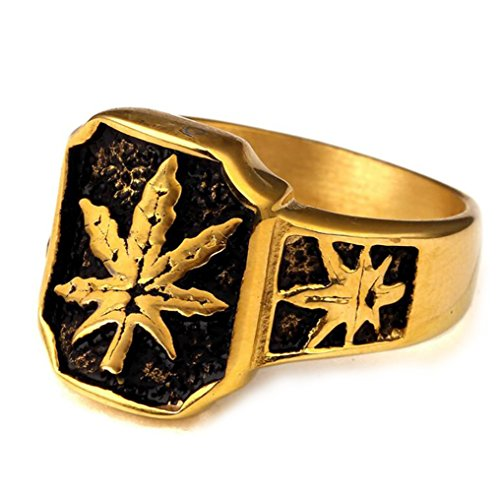 GuDeKe Cannabis Leaves Marijuana Weeds Ring Bands Wedding Engagement Rings for Men (T 1/2)