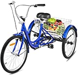 Happybuy Adult Tricycle Single Three Wheel Bike 24inch Seat...