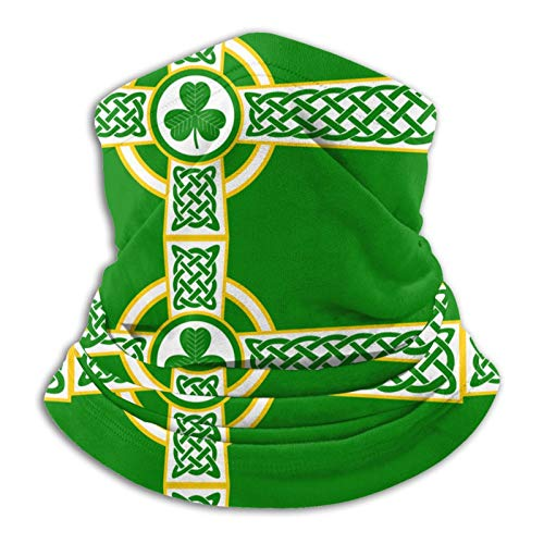 Irish Celtic Cross Flag Headwear, Bandana, Neck Gaiter Head Wrap Headband Balaclava Magic Scarf Uv Protection, Great for Men & Women Black