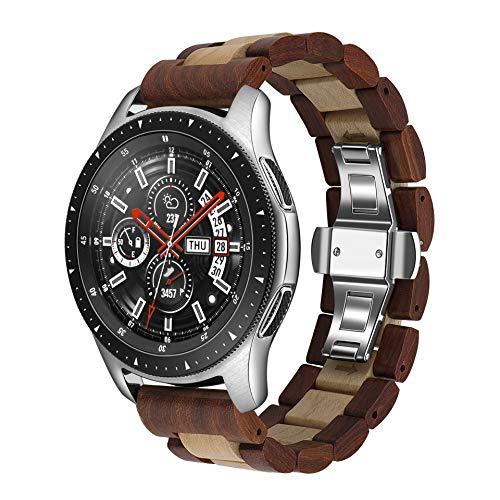 木製腕時計バンド 22mm Samsung Galaxy用 46mm 木製ステンレススチール腕時計バンド クイックリリースストラップ 交換用ブレスレット リストバンド Gear S3用 (赤とカエデ22mm)