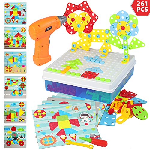 Electric Drill Puzzle Toys, STEM Toys for Kids 261 Pcs Building Toys Sets with Drill Puzzle Toys and Button Art Toys for Boys and Girls 3 4 5 6 7 8 Years Old Construction Engineering Blocks Set