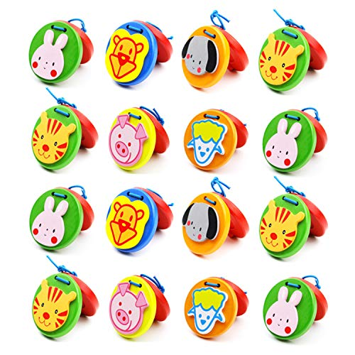 Foraineam 16 Pieces Finger Castanets, Wooden Mini Castanet Musical Instrument, Lovely Cute Animal Pattern Castanet