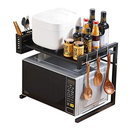 EVFIT Cocina Baker's Rack Horno de microondas expandible, extensión Microondas Estantería de Estante de Cocina Contador de Cocina Organizador, 2 Niveles con 3 Ganchos con Soporte de Palillos